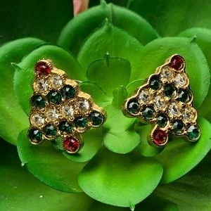 Vintage Holiday Christmas Tree Earrings A S